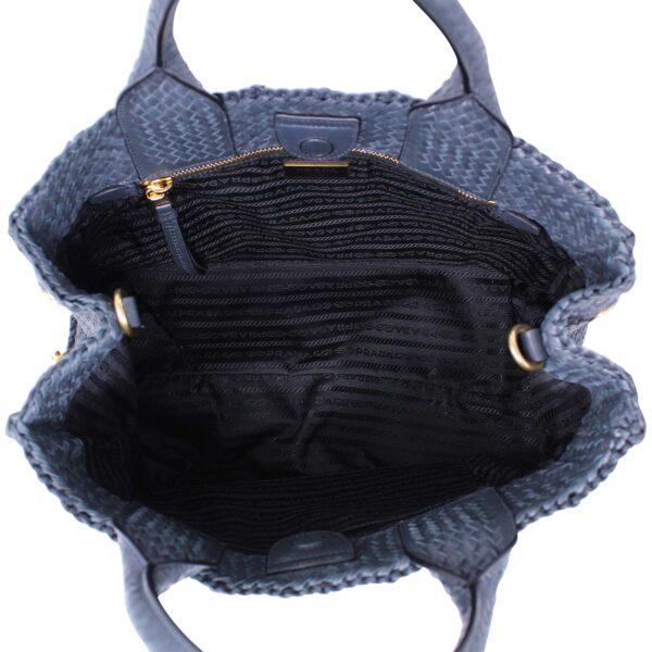 Prada Shopper Madras pelle intrecciata Blu Le Chic