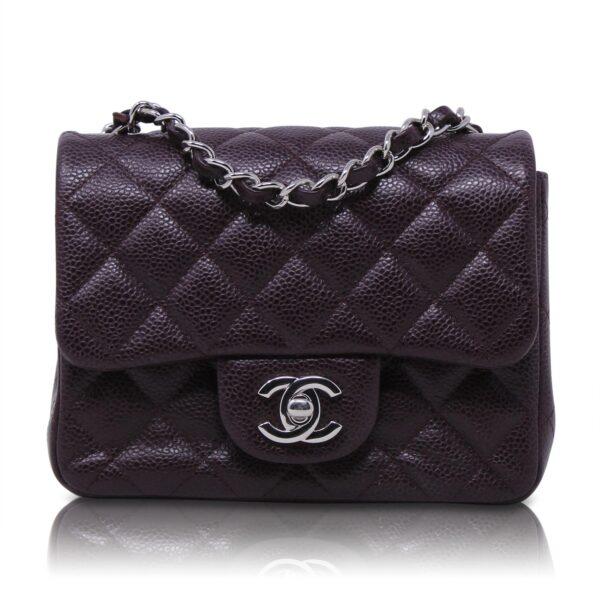 Chanel Mini Square Caviar Viola Le Chic